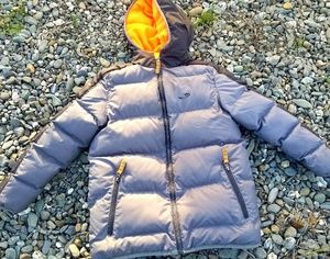 Winter Gray & Orange Puffer Coat